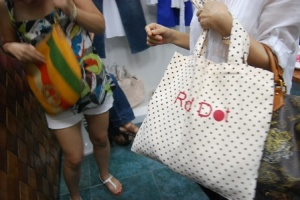 the polka dotted bag says it...