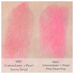 MAC Sunny Seoul and Pink Pearl Pop swatches