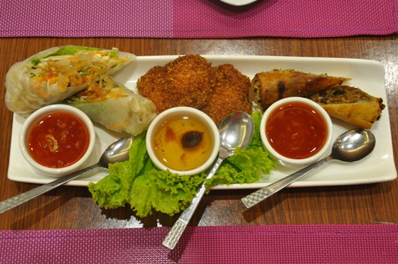 Fresh Vegetarian-Shrimp Cake-Pork Springroll